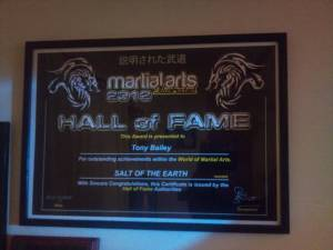 Martial Arts Hall of Fame Award 2012